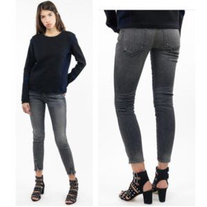 AMO Denim Twist Zip Jeans in Smoke Wash
